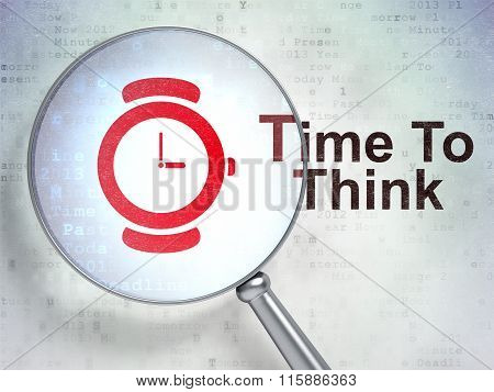 Time concept: Watch and Time To Think with optical glass