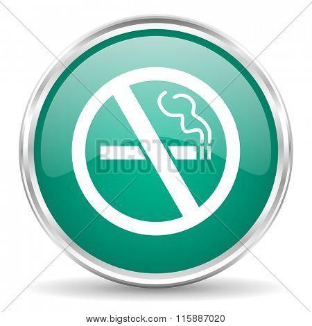 no smoking blue glossy circle web icon