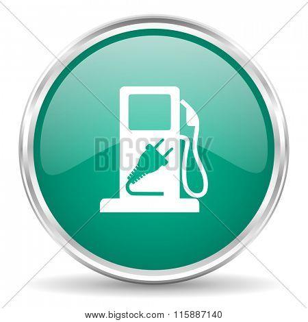 fuel blue glossy circle web icon