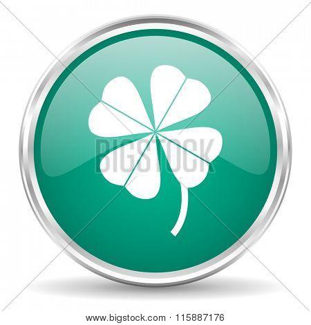 four-leaf clover blue glossy circle web icon
