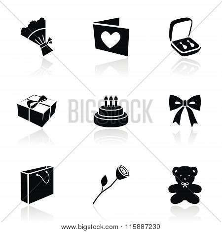 Vector icons on a gift topic