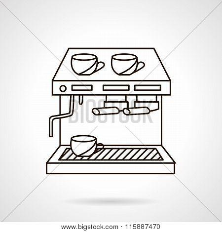 Coffee shop appliances flat line vector icon