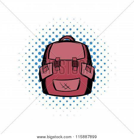 Backpack school comics icon
