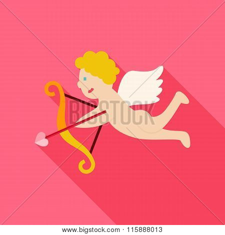 Flat Amour Cupid Boy With Bow And Love Arrow Icon