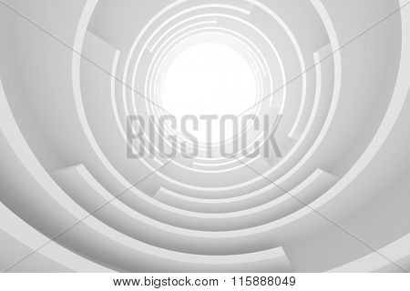 Abstract Architecture Background. White Circular Building, 3d Illustration