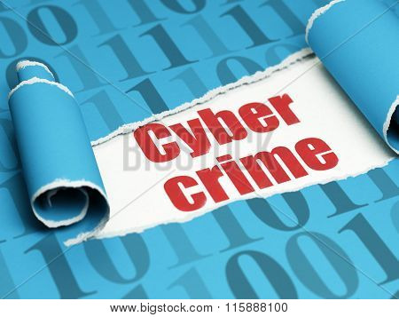Privacy concept: red text Cyber Crime under the piece of  torn paper