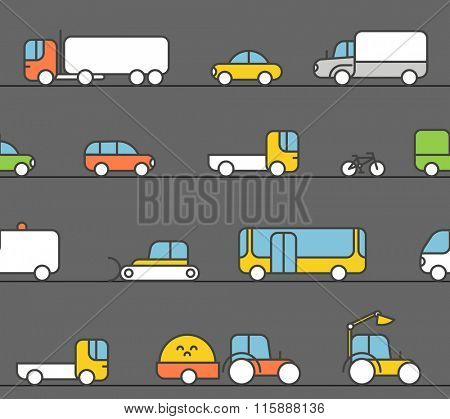 Different transport silhouette icons collection. Seamless pattern