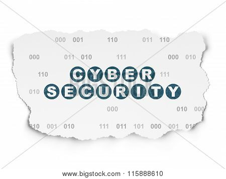Privacy concept: Cyber Security on Torn Paper background