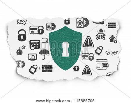 Privacy concept: Shield With Keyhole on Torn Paper background