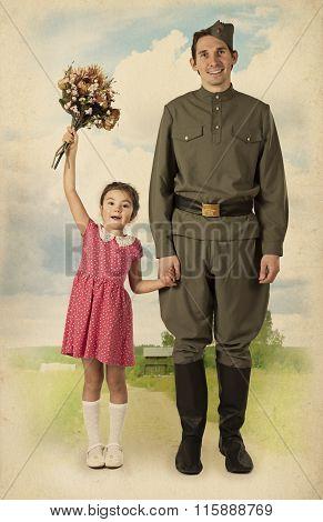 Little Girl Meets A Soldier