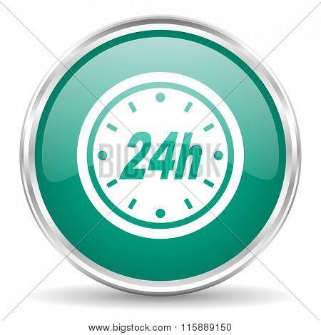 24h blue glossy circle web icon