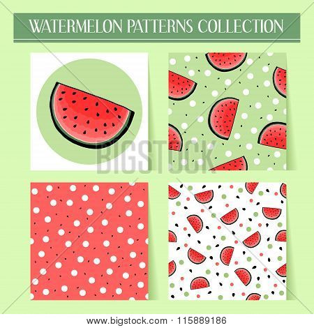 Seamless hand drawn watermelon patterns set