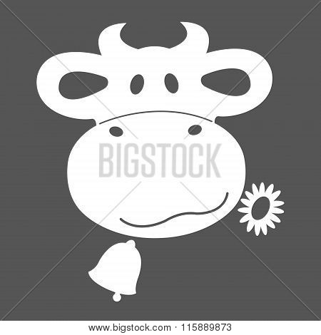 Cow head icon in a blue and white