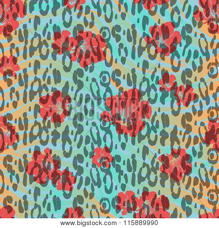 Abstract Hand Painted Animal Background. Animal Skin With Red Flowers On Wave Background. Seamless P