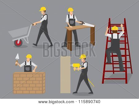 Construction Worker At Work Vector Characters