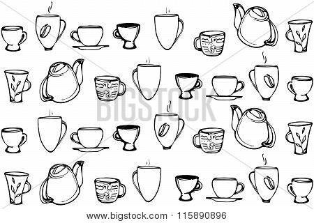 Vector Sketch Of A Porcelain Coffee Cup