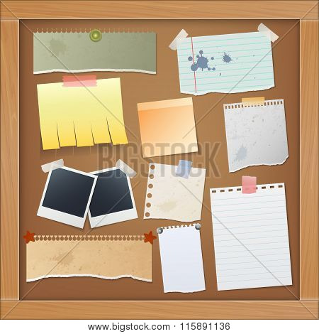 Bulletin Board With Photos And Paper Notes. Vector Illustration