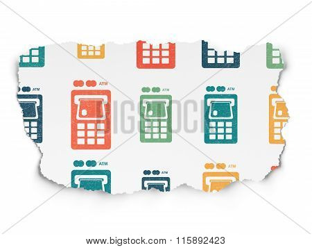 Currency concept: ATM Machine icons on Torn Paper background