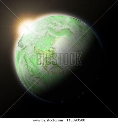 Sun Over Antarctica On Green Planet Earth