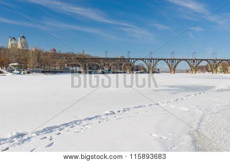 Winter landscape with frozen Dnepr river in Dnepropetrovsk city Ukraine