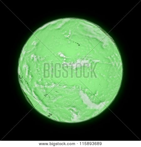 Pacific Ocean On Green Planet Earth