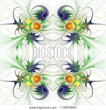 Flower Background In Fractal Design. Blue And Orange Palette. On White. Computer Generated Graphics.
