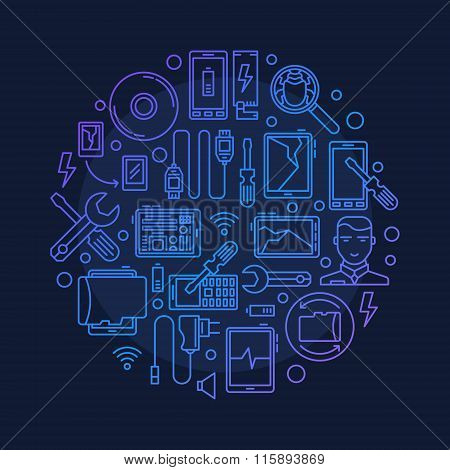 Mobile repair vector round illustration