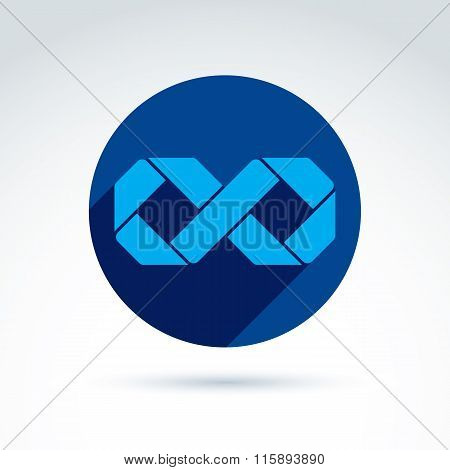 Vector Blue Ribbon Shaped In An Infinity Symbol, Illustration Of An Eternity Sign Placed In A Circle