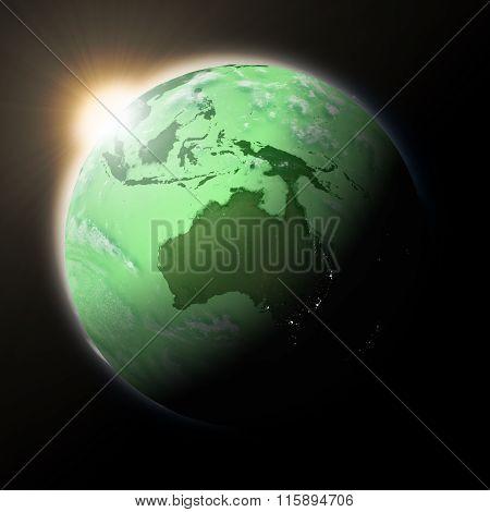 Sun Over Australia On Green Planet Earth