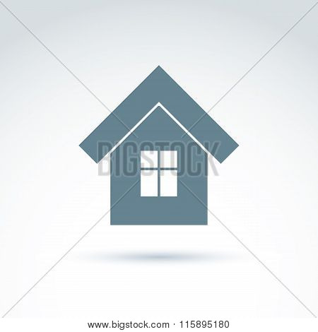 Vector Home Illustration, Real Estate Icon. Touristic Sign, Monochrome House Depiction.