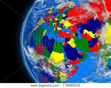 Emea Region On Political Globe