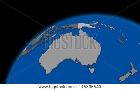 Australia On Planet Earth Political Map