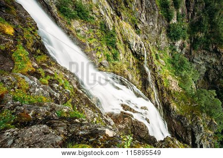 Beautiful waterfall in Norway. Amazing Norwegian nature landscap