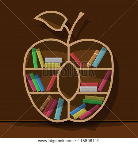 Concept of training. Empty bookshelf in form of apple. Science concept. Have no knowledge.