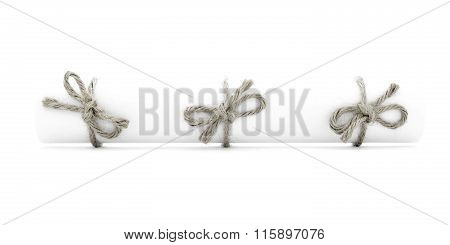 White Letter Tube Tied With Cord, Three Natural Nodes Isolated