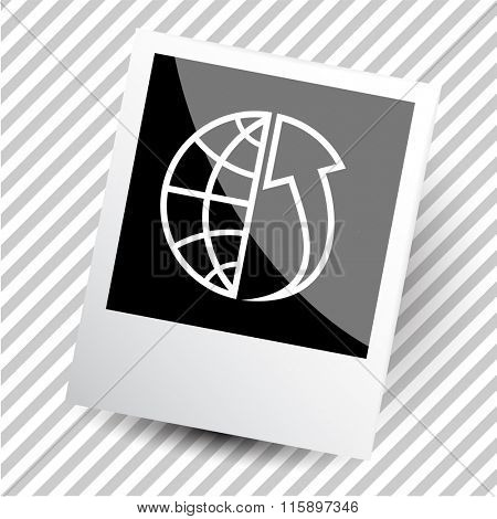 globe and array up. Photoframe. Raster icon.