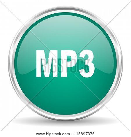 mp3 blue glossy circle web icon