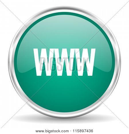 www blue glossy circle web icon