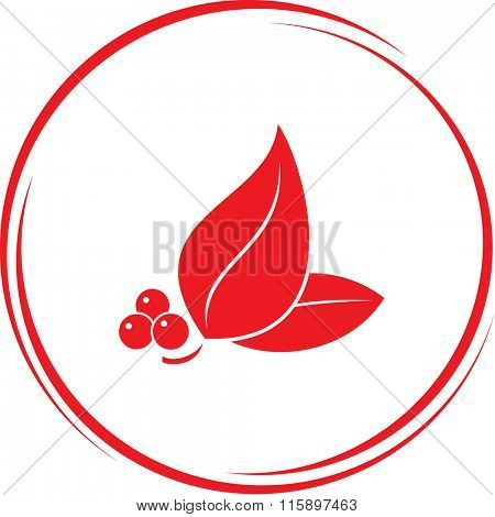 leaf with berries. Internet button. Raster icon.