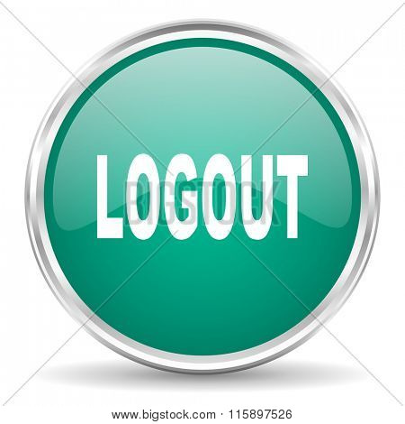 logout blue glossy circle web icon