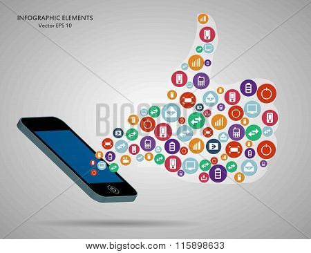Abstract creative concept vector siluet hands of icons. For web and mobile applications isolated on