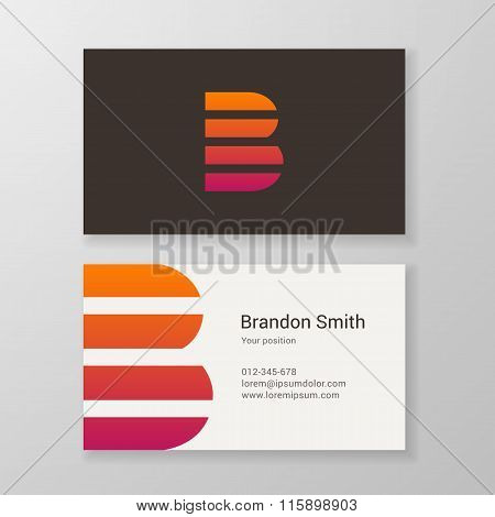 Letter B Stripes Business Card Template
