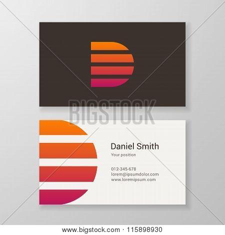Letter D Stripes Business Card Template