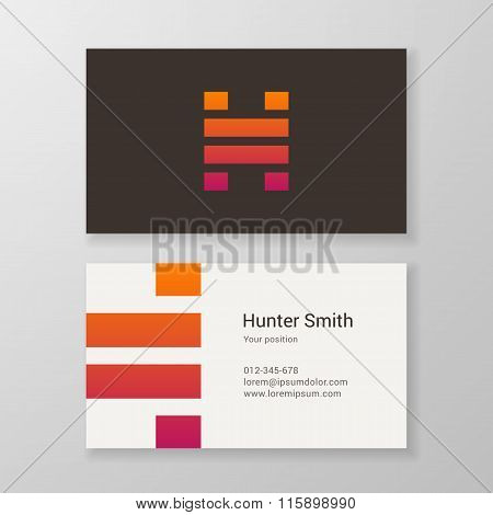Letter H Stripes Business Card Template