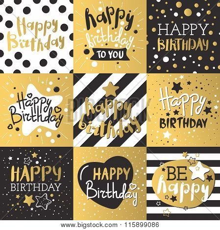 Set of beautiful birthday invitation cards decorated with colorful balloons, cakes and cartoon eleph