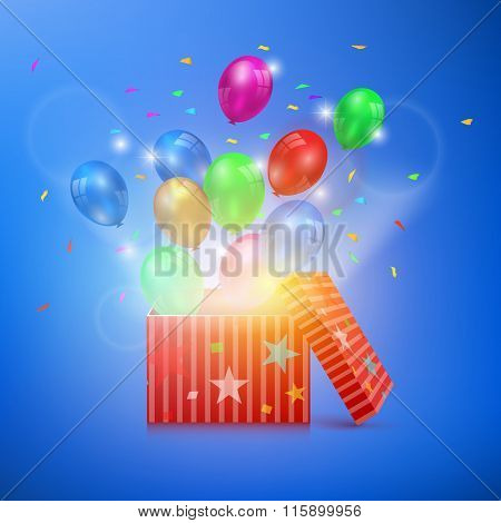 Open Gift Box With Ballons And Magic Light