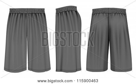 Basketball shorts (front, back and side views). Fully editable handmade mesh. Vector illustration.