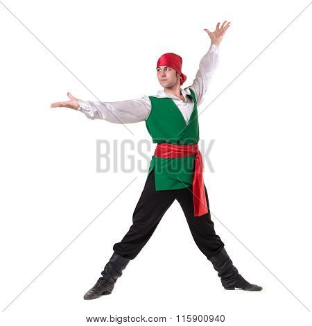 Dancing man wearing a pirate costume, isolated on white in full length.