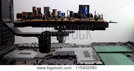 Radio components on electronic board at computer plant