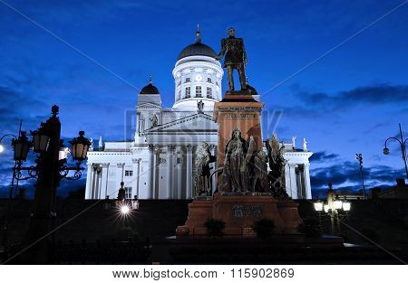 Monument To Russian Emperor Alexander Ii On The Senate Square In Helsinki At Night